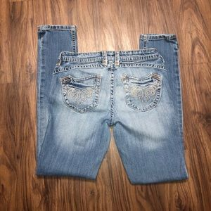 Juniors Decree distressed light color denim jeans